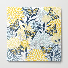 Floral and Butterflies Prints, Navy Blue, Gray, Yellow, Aqua Metal Print