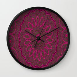 Lovely Healing Mandalas in Brilliant Colors: Plum, Copper, and Pink Wall Clock