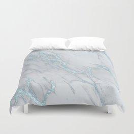 Marble Love Sea Blue Metallic Duvet Cover