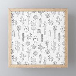 Cactus Silhouette Black Framed Mini Art Print