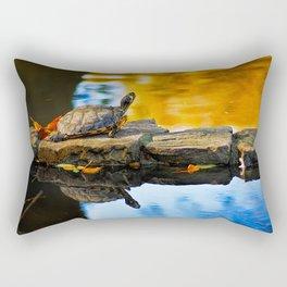 Turtle on the stone Rectangular Pillow