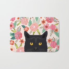 Black Cat florals spring summer animal portrait pet friendly cat lady gifts for her or him cute cats Bath Mat