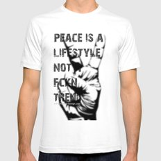 Peace Out!  SMALL White Mens Fitted Tee
