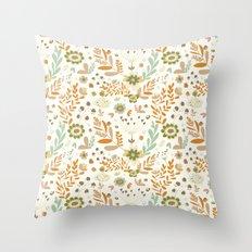 Little Creme Garden Flowers Throw Pillow