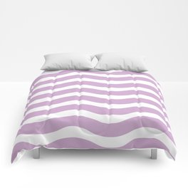 Lavender Abstract Wavy Lines Pattern Comforters