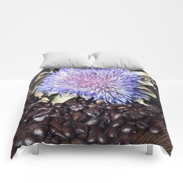 Coffee Beans with Blue Artichoke Flower Comforters
