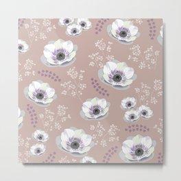 Anemones IV: pattern beige Metal Print