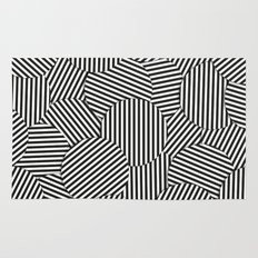 Striped Disc Pattern - Black and White Rug