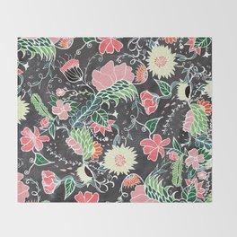 Pastel preppy hand drawn garden flowers chalkboard Throw Blanket
