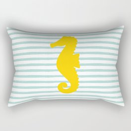 Seahorse & Stripes - Yellow / Mint Rectangular Pillow
