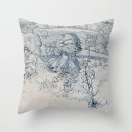 The Primitive Cottage, Shoreham - Digital Remastered Edition Throw Pillow