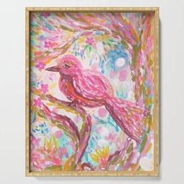 Pink Bird Serving Tray