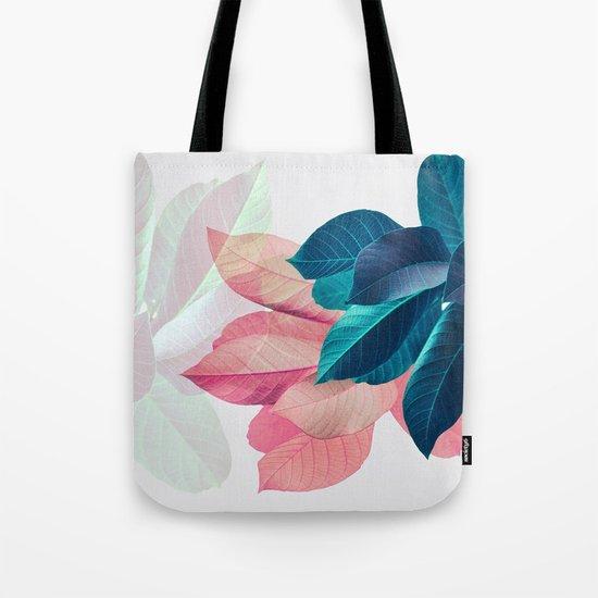 Pink and Blue Leaf Tote Bag