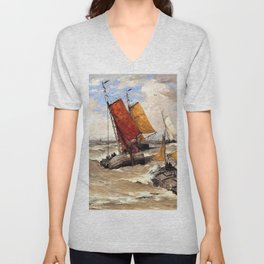 Hendrik Willem Mesdag - Back from the fishing trip - Digital Remastered Edition Unisex V-Neck