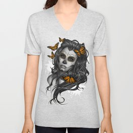 Sugar Skull Tattoo Girl with Butterflies Unisex V-Neck