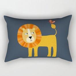 Lion Looking at a Butterfly Rectangular Pillow