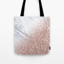 Blush Pink Sparkles on White and Gray Marble V Tote Bag