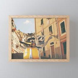 Raccoons on the road trip Framed Mini Art Print