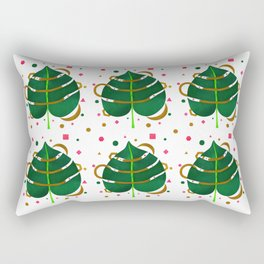 Monstera Leaves with Gold Pink and Green Geometric Confetti Rectangular Pillow