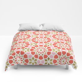 Persian Mosaic – Coral & Gold Palette Comforters