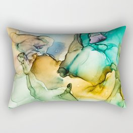 Caribbean Beach- Alcohol Ink Abstract Painting Rectangular Pillow