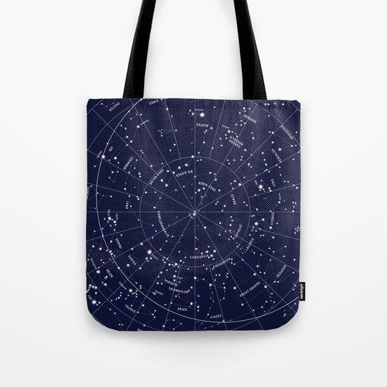 Constellation Map Indigo Tote Bag