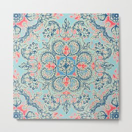Gypsy Floral in Red & Blue Metal Print