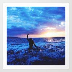 Sunset Swimmer Art Print