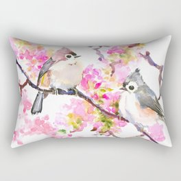 Titmice and Cherry Blossom, spring bird cottage style pink gray design Rectangular Pillow