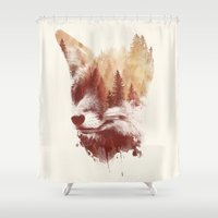 country Shower Curtains featuring Blind fox by Robert Farkas