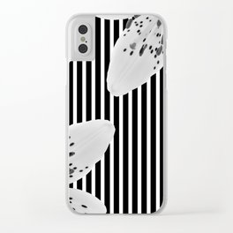 Monochrome stripes and lilies Clear iPhone Case