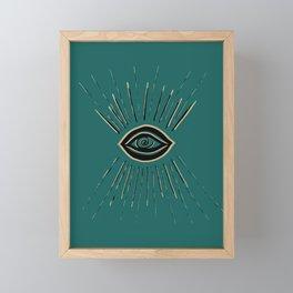 Evil Eye Gold Black on Teal #1 #drawing #decor #art #society6 Framed Mini Art Print