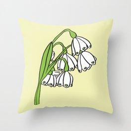 Snowflake Flowers on Yellow Throw Pillow