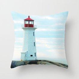 Old Lighthouse, Blue Ocean Throw Pillow