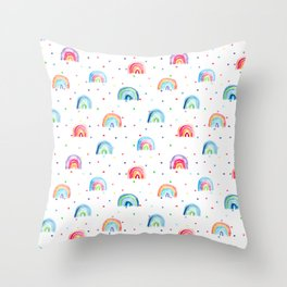 Rainbow baby dreams || watercolor for nursery Throw Pillow