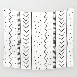Moroccan Stripe in Cream and Black Wall Tapestry
