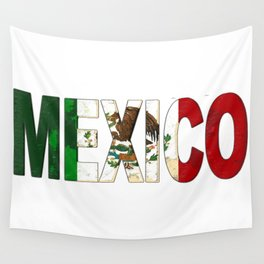 Mexico Font with Mexican Flag Wall Tapestry