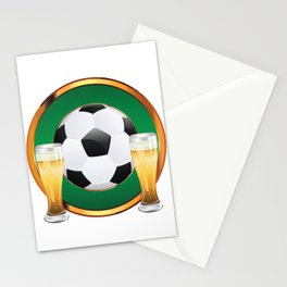 Two beer glasses and soccer ball in green circle Stationery Cards