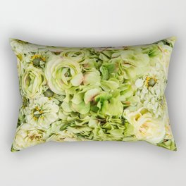 Green Flowers Rectangular Pillow