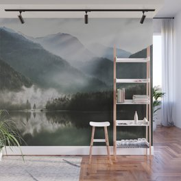 Dreamlike Morning at the Lake - Nature Forest Mountain Photography Wall Mural