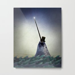 Pinky the Narwhal Metal Print
