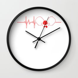 Pickleball Heartbeat Wiffle Ball Net Racquet Crosscourt Baseline Paddle Sports Gift Wall Clock