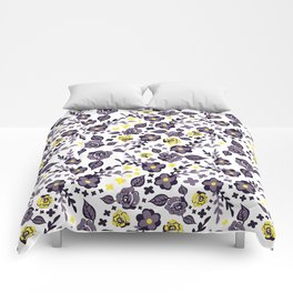 Cute Chintzy Purple and Yellow Floral Print Comforters