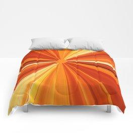 Bright Orange Sun Glare Comforters