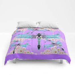DELICATE BLUE DRAGONFLIES LILAC DAISY FLOWERS ART Comforters