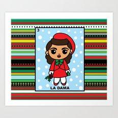 Christmas Loteria La Dama Art Print