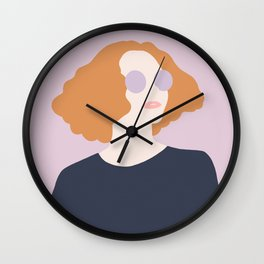 Orange Hair Girl // Minimalist Indie Rock Music Festival Lavender Sunglasses by Mighty Face Designs Wall Clock