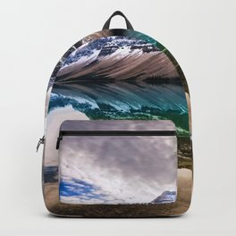 Bow Lake clouds mountains canadian landmarks Banff National Park Canada Backpack