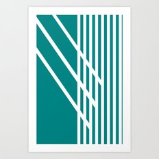 CVS0097 Teal Blue with White Criss Cross Stripes Art Print