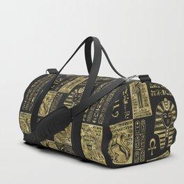 Egyptian  hieroglyphs and symbols gold on black leather Duffle Bag